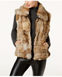 Surell - Multicolor Pockets & Front Zip Rabbit Fur Vest - Lyst