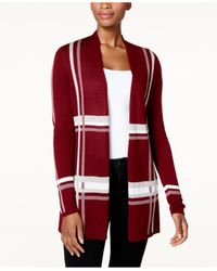 Charter Club | Red Lightweight Plaid Open-front Cardigan | Lyst