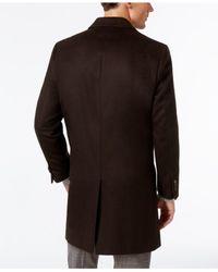Kenneth Cole Brown Reaction Raburn Wool-blend Over Coat Slim-fit for men