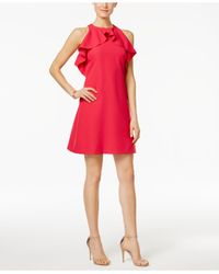 Jessica Simpson | Red Ruffled Shift Dress | Lyst