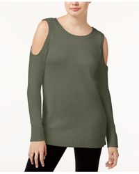 Kensie - Green Warm Touch Cold-shoulder Sweater - Lyst