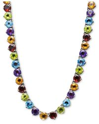 Macy's | Multicolor Sterling Silver Necklace, Round Multi-stone (38-9/40 Ct. T.w.) | Lyst
