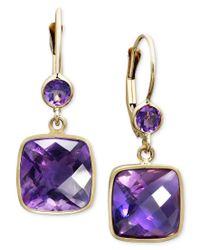 Macy's | Purple 14k Gold Earrings, Amethyst Cushion Cut Drop (8-1/2 Ct. T.w.) | Lyst