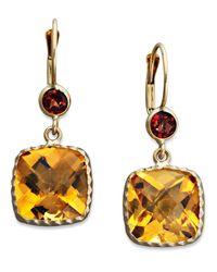 Macy's | Metallic 14k Gold Earrings, Citrine (8-1/5 Ct. T.w.) And Garnet (3/4 Ct. T.w.) Cushion Cut Drop | Lyst