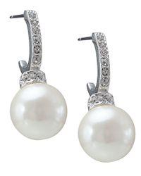 Carolee   White Earrings, Pave Crystal Hoop And Pearl Drop   Lyst