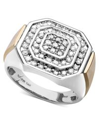 Macy's   Metallic Men's Diamond Ring In 14k Gold And Sterling Silver (1 Ct. T.w.) for Men   Lyst