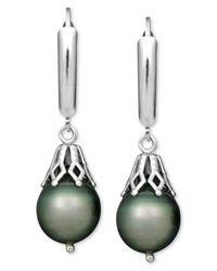 Macy's | Multicolor Pearl Earrings, Sterling Silver Tahitian Cultured Pearl Leverback Drop (8mm) | Lyst