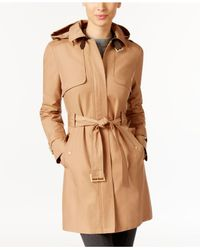 Cole Haan - Brown Belted Buckle Trench Coat - Lyst