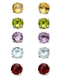 Macy's | Green Victoria Townsend Sterling Silver Multi-stone Interchangeable Stud Earrings Set | Lyst