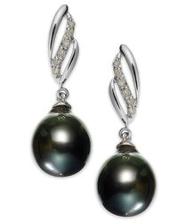 Macy's Blue 14k White Gold Tahitian Pearl (9mm) And Diamond (1/10 Ct. T.w.) Drop Earrings