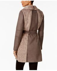 Vince Camuto - Brown Faux-shearling Walker Coat - Lyst
