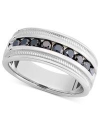 Macy's - Metallic Men's Sterling Silver Ring, Black Diamond Band (1 Ct. T.w.) for Men - Lyst