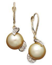 Macy's | Metallic 14k Gold Earrings, Cultured Golden South Sea Pearl (9mm) And Diamond (1/5 Ct. T.w.) Drop Earrings | Lyst