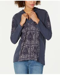 Style & Co. Blue Petite Printed Hoodie Top, Created For Macy
