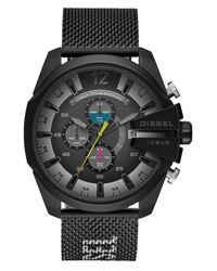 DIESEL Black Mega Chief Chronograph Two-tone Stainless Steel Watch for men