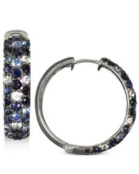 Effy Collection | Blue Multicolor Sapphire Large Hoop Earrings (4 Ct. T.w.) In Sterling Silver | Lyst