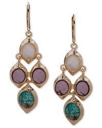 Anne Klein Metallic Gold-tone Multi-stone Chandelier Earrings