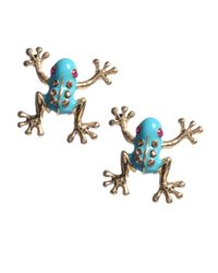 Betsey Johnson | Blue Frog Stud Earrings | Lyst
