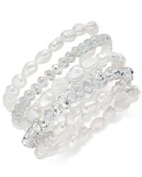 Macy's - Metallic 5-pc. Set White Cultured Freshwater Pearl Baroque (7-8mm) And Crystal Rondel Stretch Bracelets - Lyst