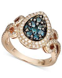 Effy Collection Metallic Bella Bleu By Effy Diamond Blue And White Diamond Teardrop (9/10 Ct. T.w.) In 14k Rose Gold