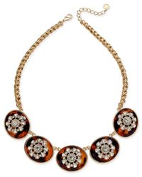 Charter Club - Metallic Gold-tone Tortoise-look And Crystal Multi-disc Statement Necklace - Lyst