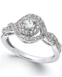 Macy's - Metallic White Sapphire Ring In 14k White Gold (2/3 Ct. T.w.) - Lyst