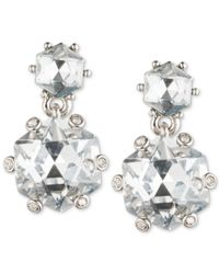Carolee - White Silver-tone Double Crystal Drop Earrings - Lyst