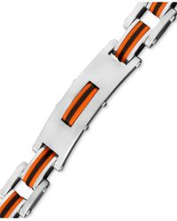 Macy's | Multicolor Men's Stainless Steel And Rubber Bracelet, Rectangle Link Bike Chain for Men | Lyst