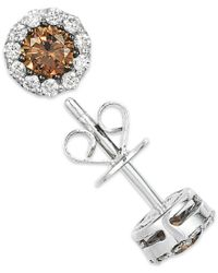 Le Vian | Red White And Chocolate Diamond Stud Earrings In 14k White Gold (1/2 Ct. T.w.) | Lyst