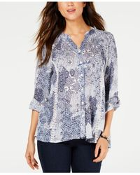 Style & Co. Blue Printed High-low Button-up Top, Created For Macy