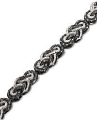 Macy's | Black And White Diamond Braided Bracelet In Sterling Silver (2 Ct. T.w.) | Lyst