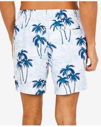 "Nautica - Blue Palm Tree Printed 6"" Swim Trunks for Men - Lyst"