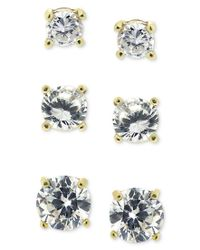 Giani Bernini | Multicolor 18k Gold Over Sterling Silver Earring Set, Cubic Zirconia Round Trio Stud Set (1-3/4 Ct. T.w.) | Lyst