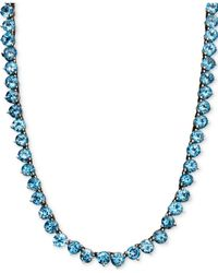 Macy's | Metallic Sterling Silver Necklace, Blue Topaz Necklace (45 Ct. T.w.) | Lyst