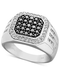 Macy's | Men's Black And White Diamond Square Ring In Sterling Silver (1 Ct. T.w.) for Men | Lyst
