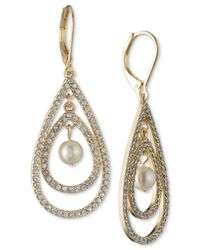 Anne Klein - Metallic Gold-tone Imitation Pearl & Pavé Orbital Drop Earrings - Lyst