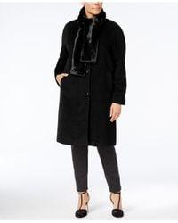 Jones New York | Black Plus Size Walker Coat With Faux-fur Scarf | Lyst