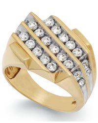 Macy's | Metallic Men's Diamond Three-row Ring In 10k Gold (1-1/2 Ct. T.w.) | Lyst