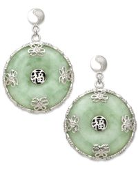 Macy's | Metallic Sterling Silver Earrings, Jade Circle Flower Overlay Earrings | Lyst