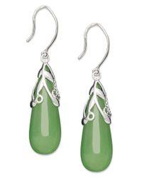 Macy's | Green Sterling Silver Earrings, Jade Leaf Top Teardrop Earrings | Lyst