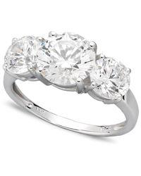 Arabella | Metallic 14k White Gold Ring, Swarovski Zirconia Three Stone Ring (6-1/5 Ct. T.w.) | Lyst