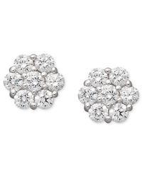 Arabella | 14k White Gold Earrings, Swarovski Zirconia Cluster Stud Earrings (1-5/8 Ct. T.w.) | Lyst