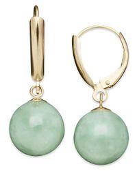 Macy's | Green 14k Gold Earrings, Jade Bead Drop Earrings | Lyst