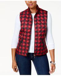 Karen Scott Red Petite Plaid Puffer Vest, Created For Macy's