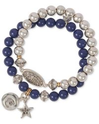 Lucky Brand Blue Two-tone 2-pc. Set Stone & Bead Celestial Stretch Bracelets