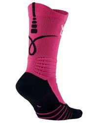 Nike Pink Elite Kay Yow We Are United Versatility Crew Basketball Socks