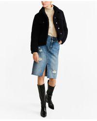 Mango Black Faux Shearling Jacket