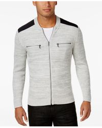 INC International Concepts - Gray Men's Manchester Heathered Mixed Media Sweater for Men - Lyst