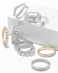Macy's Metallic Diamond Curved Solitaire Enhancer Ring Guard (3/8 Ct. T.w.) In 14k White Gold