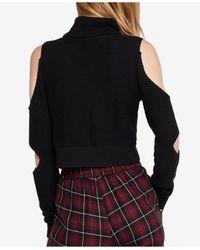 BCBGeneration - Black Cropped Cutout Turtleneck Sweater - Lyst